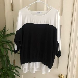 Calvin Klein Black and White Sweater Blouse Large